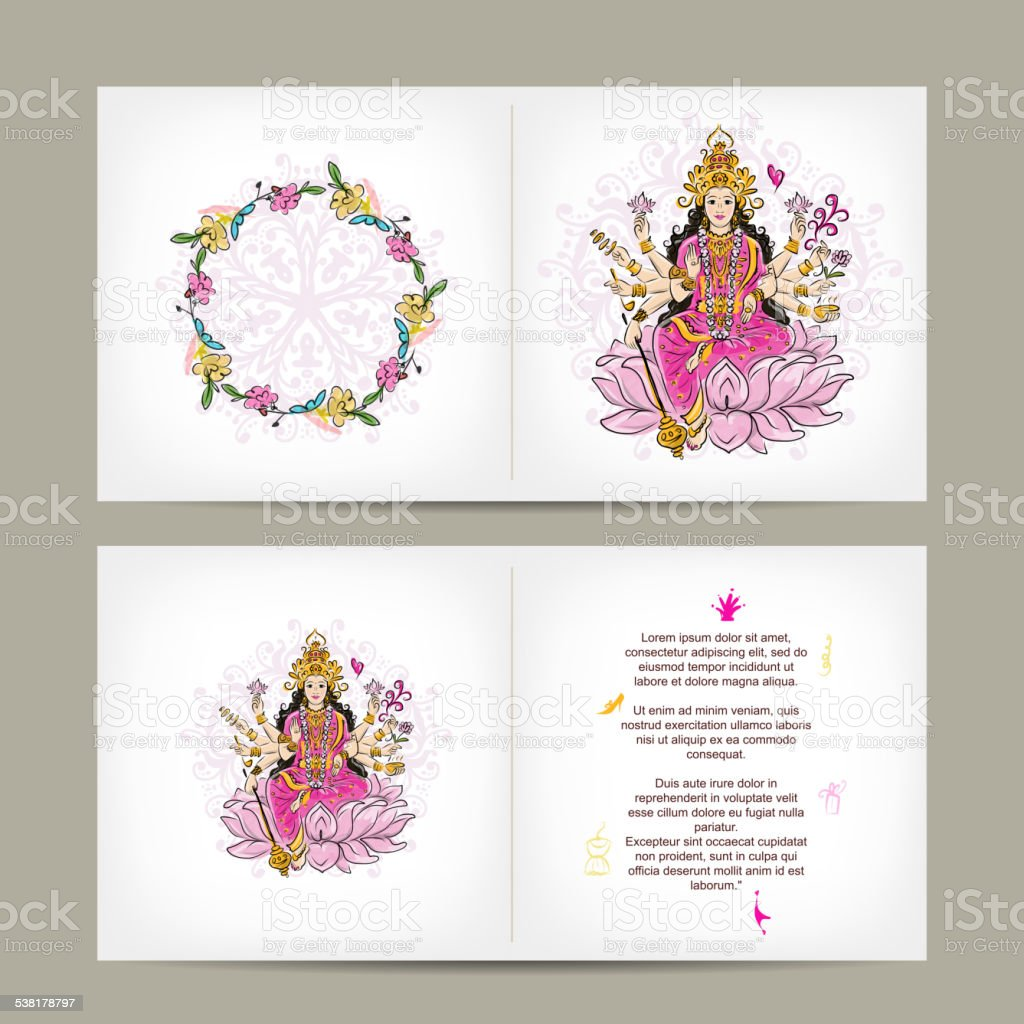 Indian goddess Shakti, postcard design vector art illustration