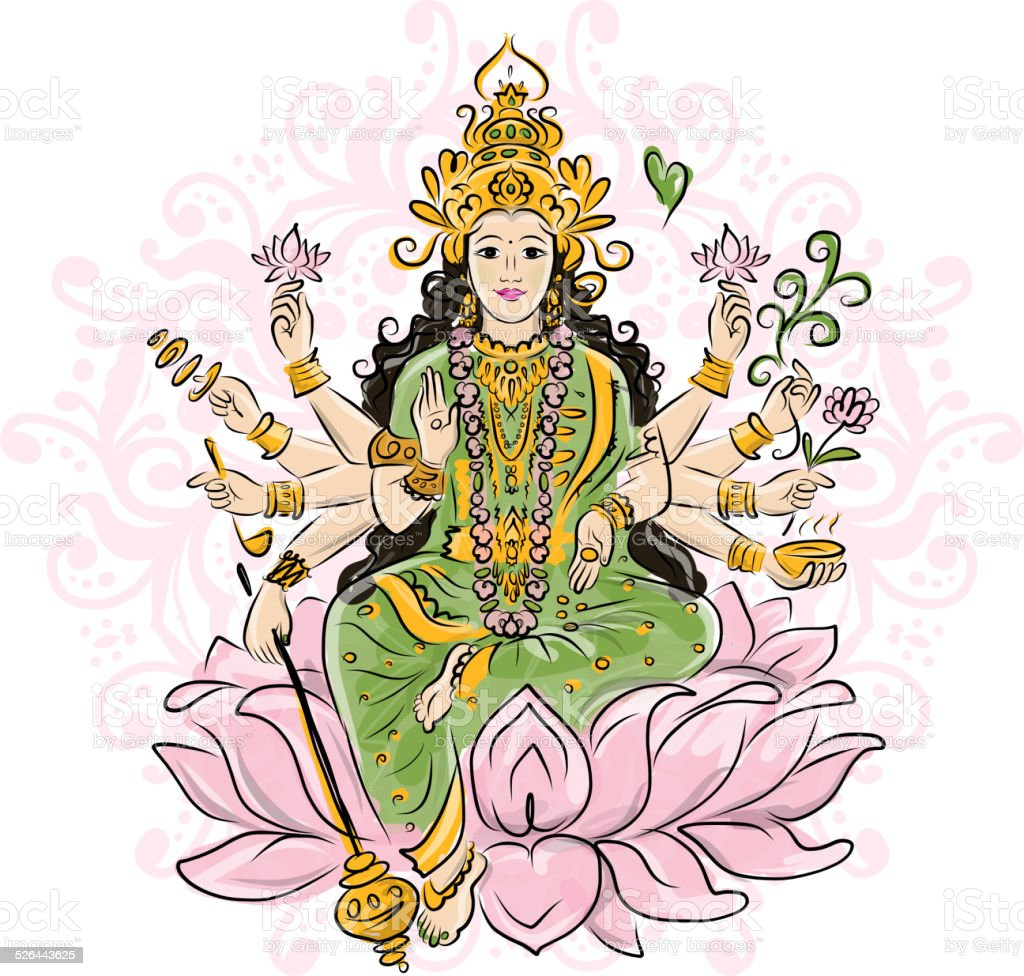 Indian goddess Shakti, sketch for your design vector art illustration