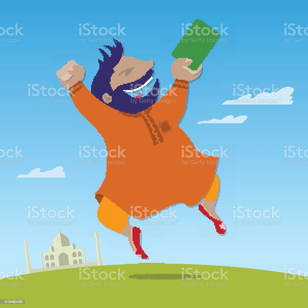 Indian got a green card and jumping for joy vector art illustration