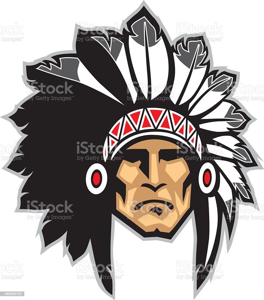 indian head mascot vector art illustration