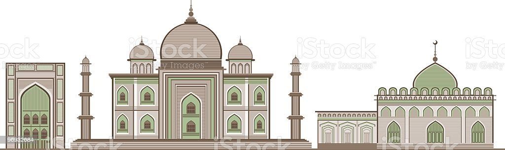 Indian historic buildings royalty-free stock vector art