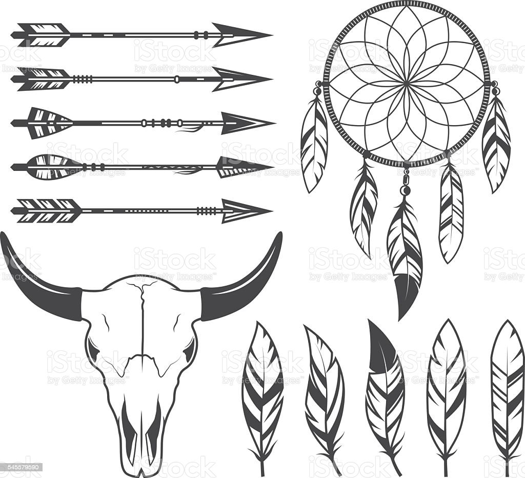 Indian, hunter, tribal objects, vector set vector art illustration