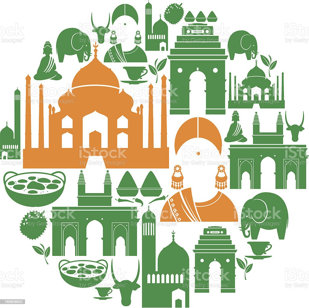 Indian Icon Montage vector art illustration