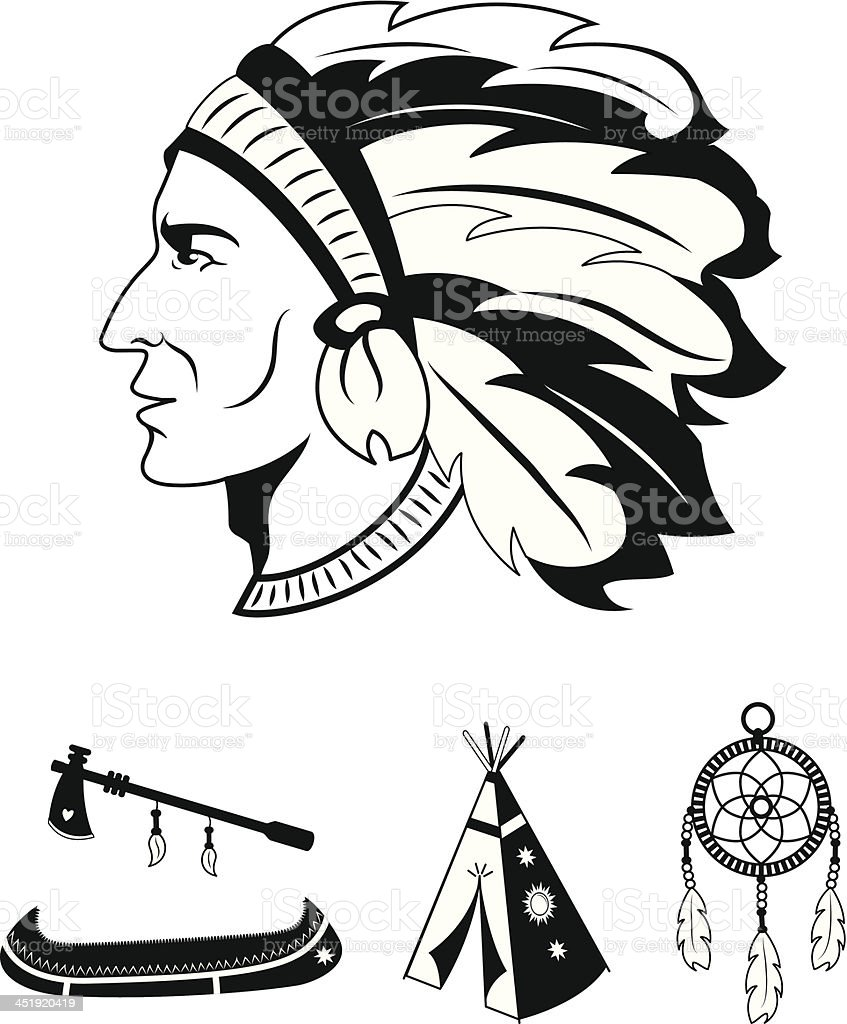 Indian icons set royalty-free stock vector art