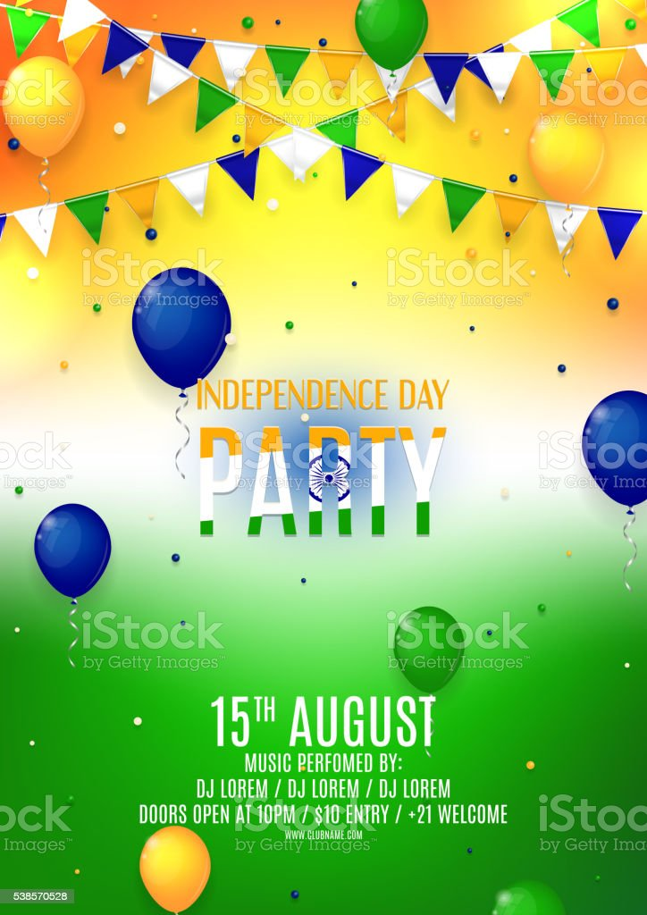 Indian Independence Day party flyer royalty-free stock vector art