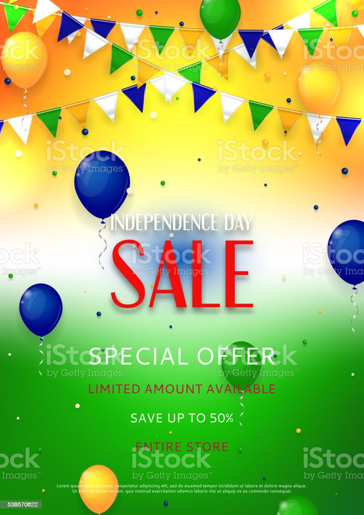 Indian Independence Day sale flyer royalty-free stock vector art