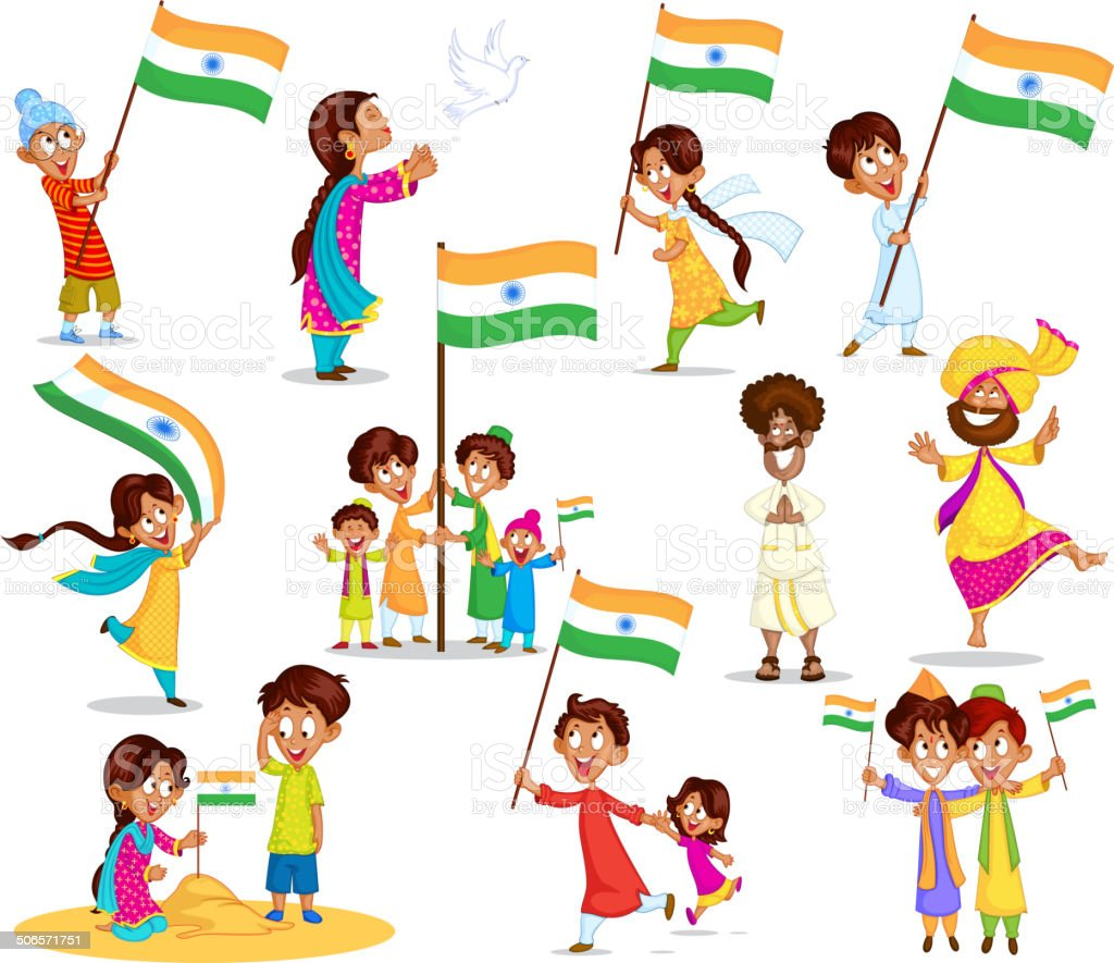 Indian kid with flag of India royalty-free stock vector art