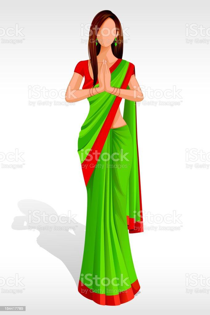 Indian Lady Greeting vector art illustration
