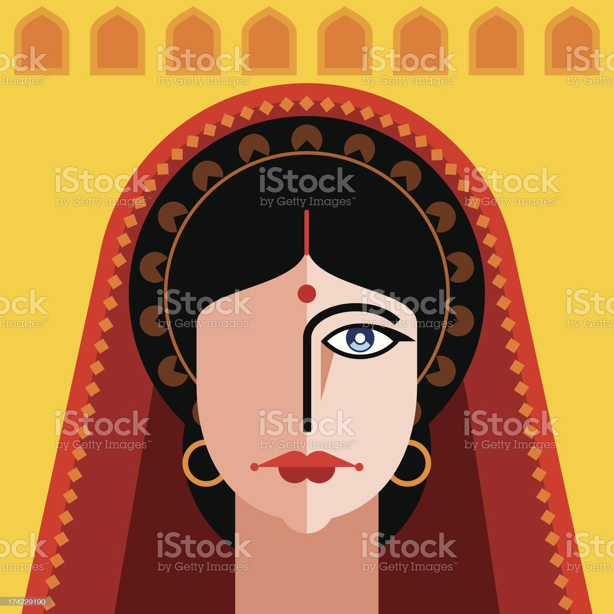 indian lady portrait royalty-free stock vector art