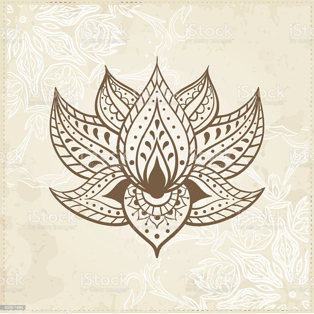 Indian Lotus. Arabic and Jewish amulet vector art illustration