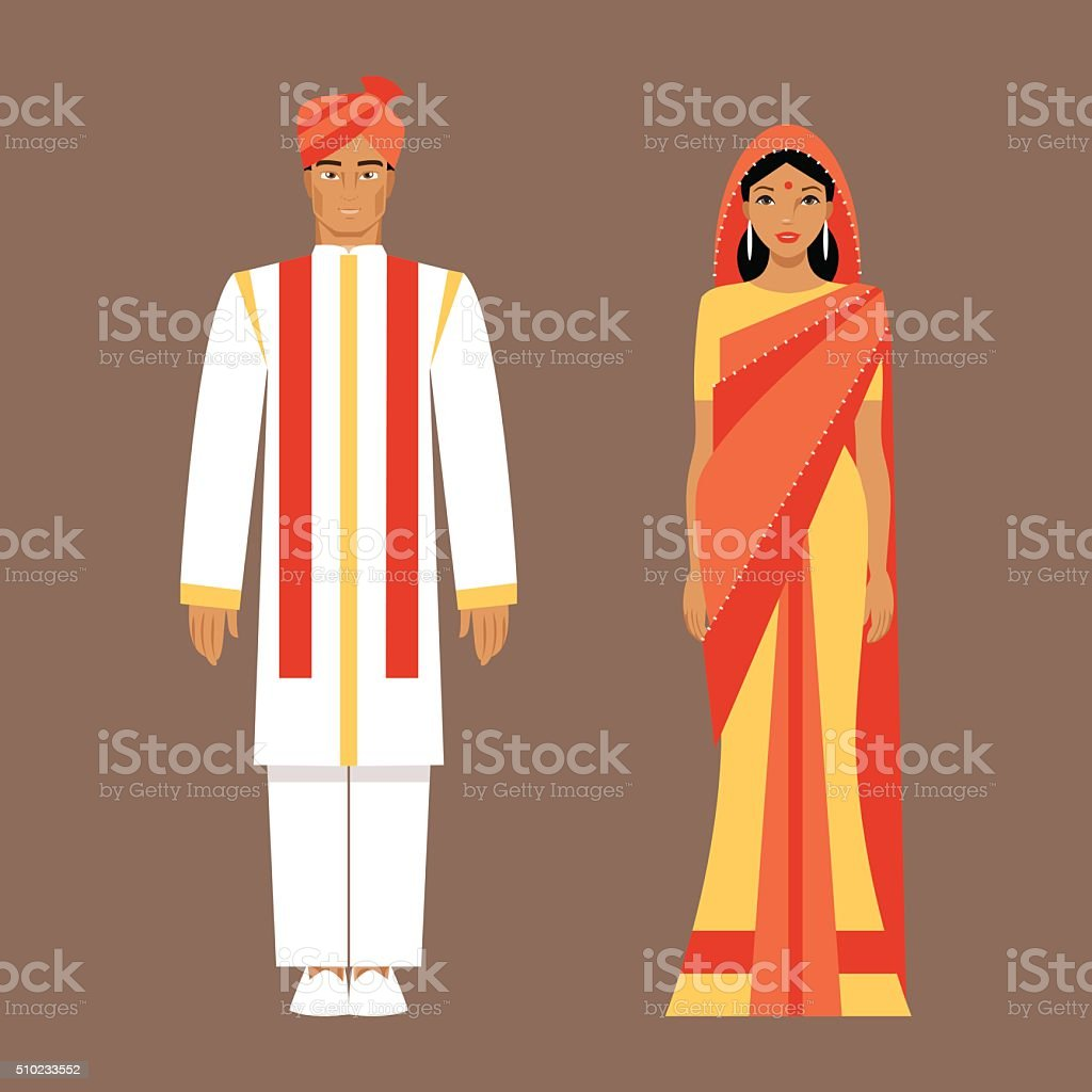 Indian man and woman in traditional clothes vector art illustration