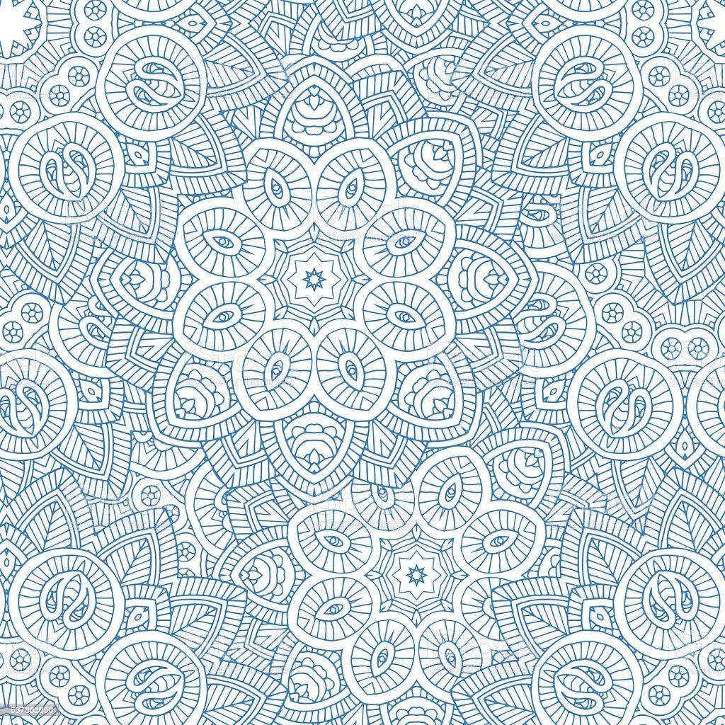 indian mandala seamless pattern vector art illustration