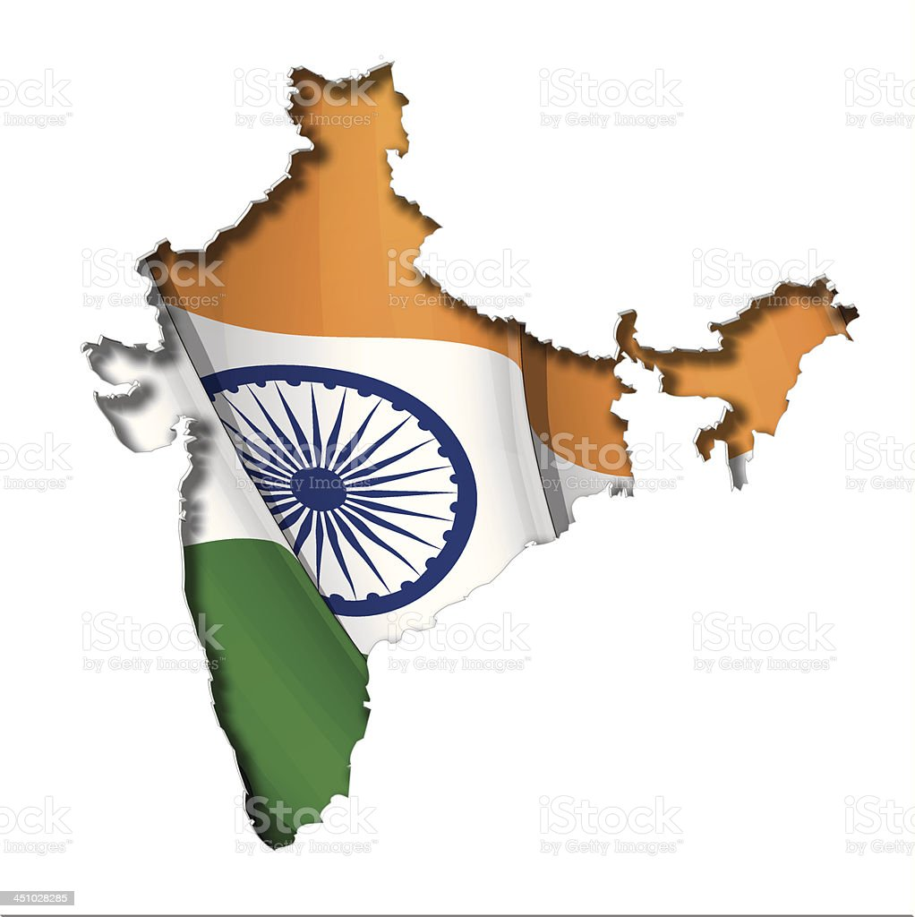 Indian Map-Flag royalty-free stock vector art