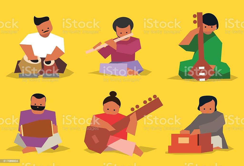 Indian musician set vector art illustration