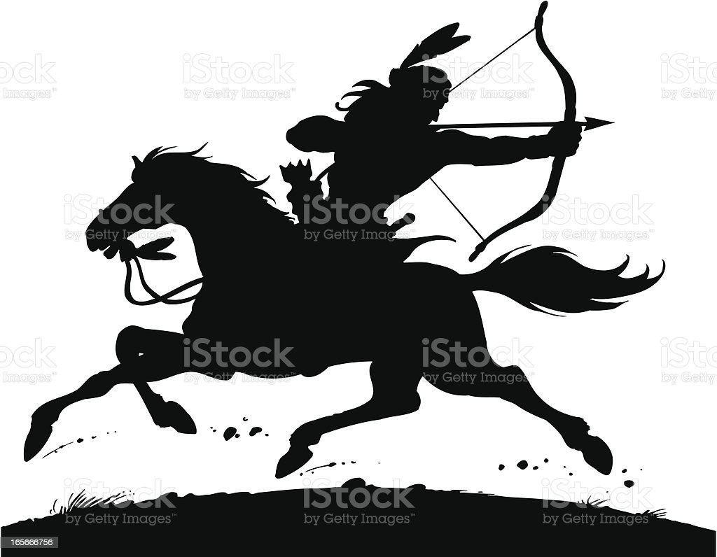 Indian on the horse vector art illustration