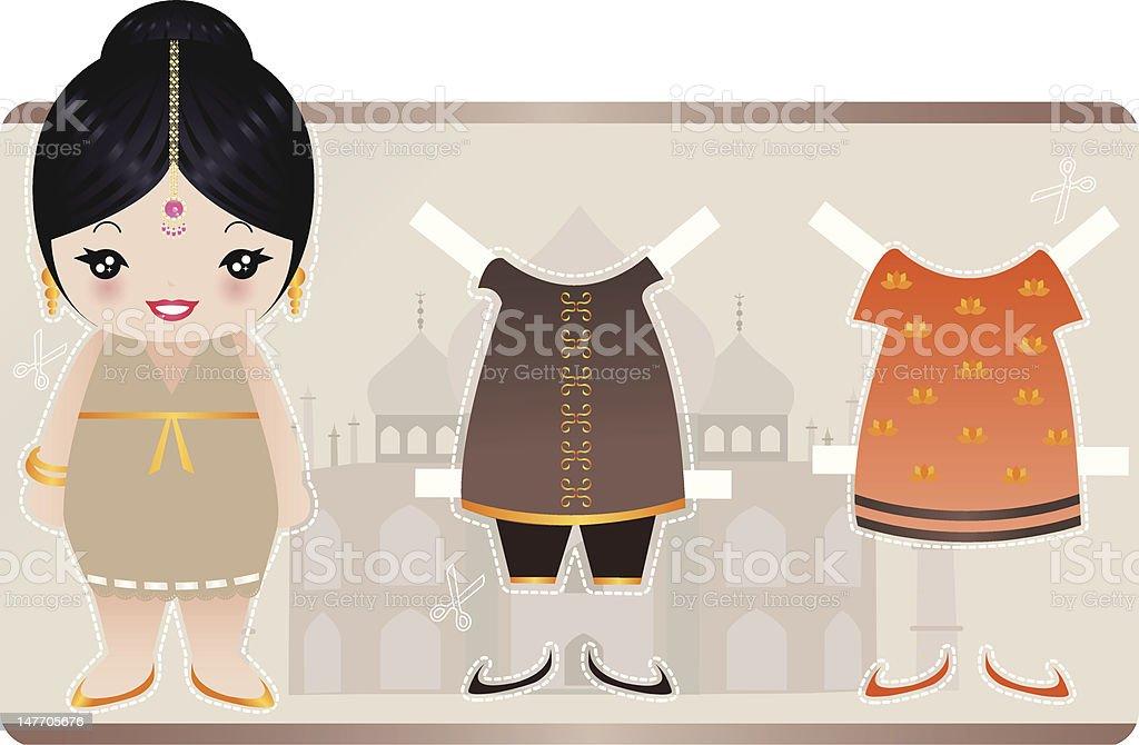 Indian Marioneta de papel illustracion libre de derechos libre de derechos