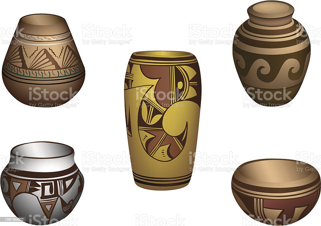 Indian Pottery vector art illustration