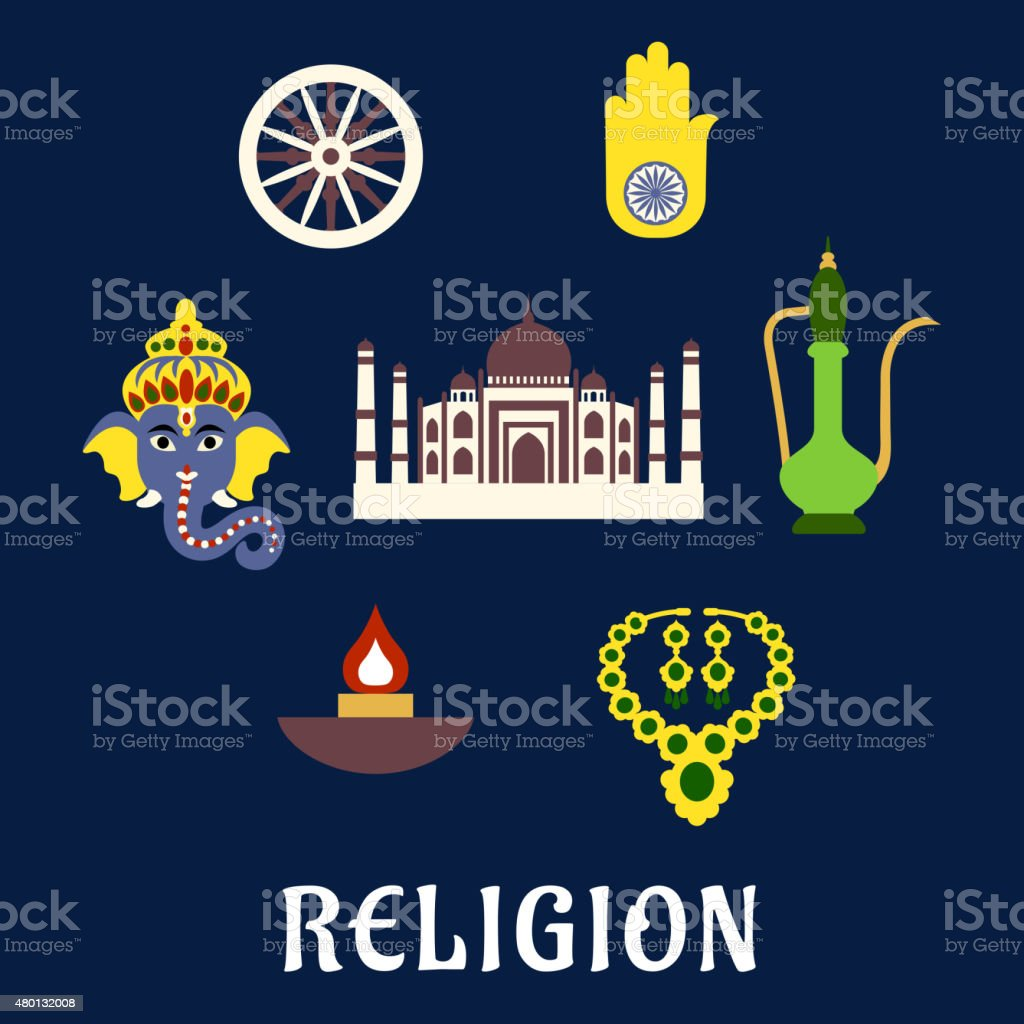 Indian Religion And Culture Flat Symbols With Ganesha God National