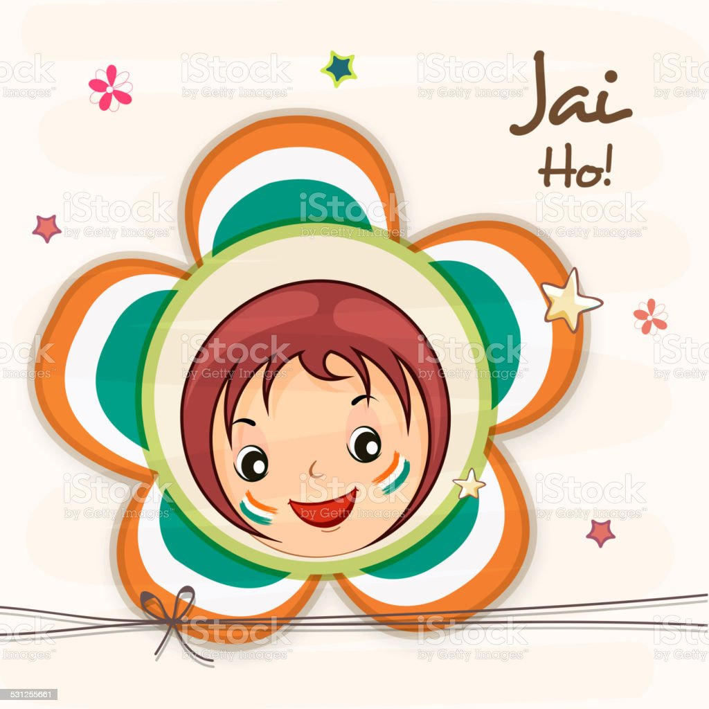 Indian Republic Day celebration with cute girl face. vector art illustration