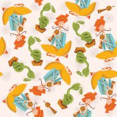 Indian snake charmer. Seamless background pattern.