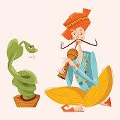 Indian snake charmer.