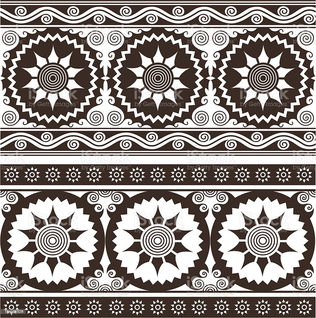 design bordo floreale in stile indiano illustrazione royalty-free