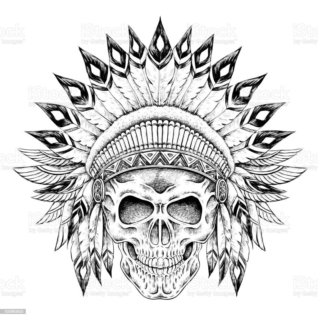Indian style skull vector art illustration
