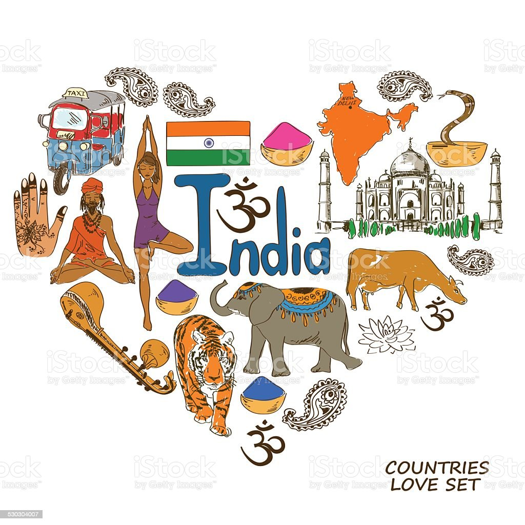 Indian symbols in heart shape concept vector art illustration
