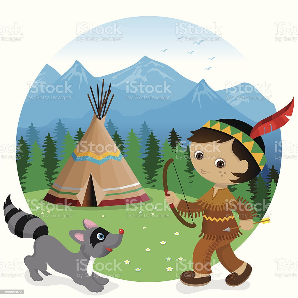 Indian tipi boy and raccoon vector art illustration
