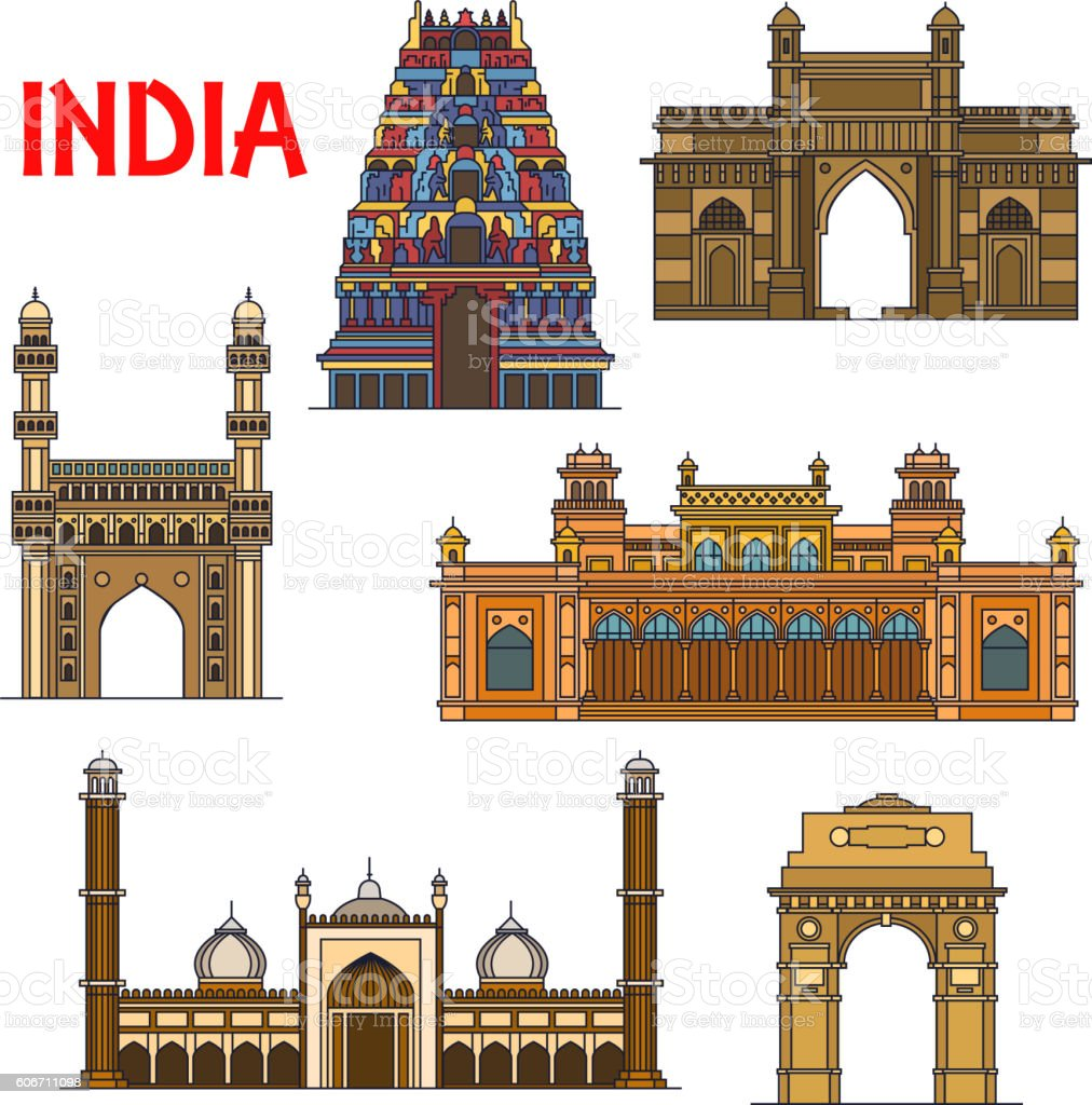 Indian travel landmarks thin line icon vector art illustration