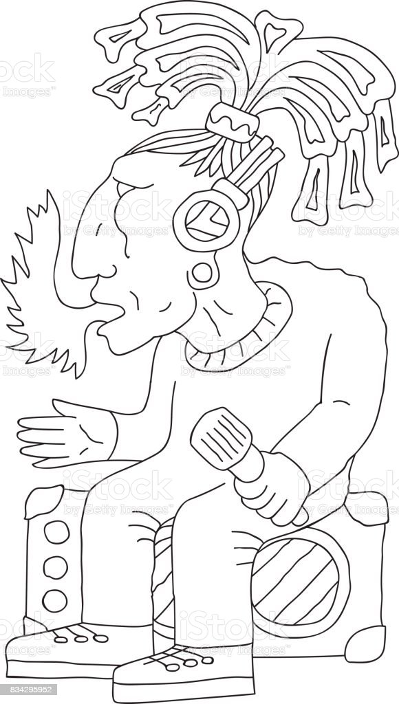 Indian tribe chief aztec fire coming from mouth, holding microphone, sitting on stereo amplifiers, doodle, hand drawn sketch, cartoon vector art illustration