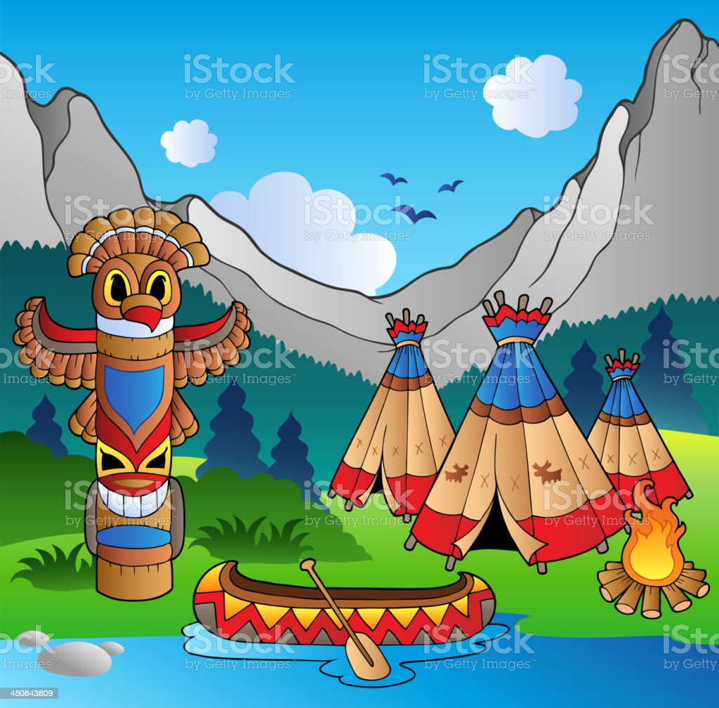Indian village with totem and canoe royalty-free stock vector art