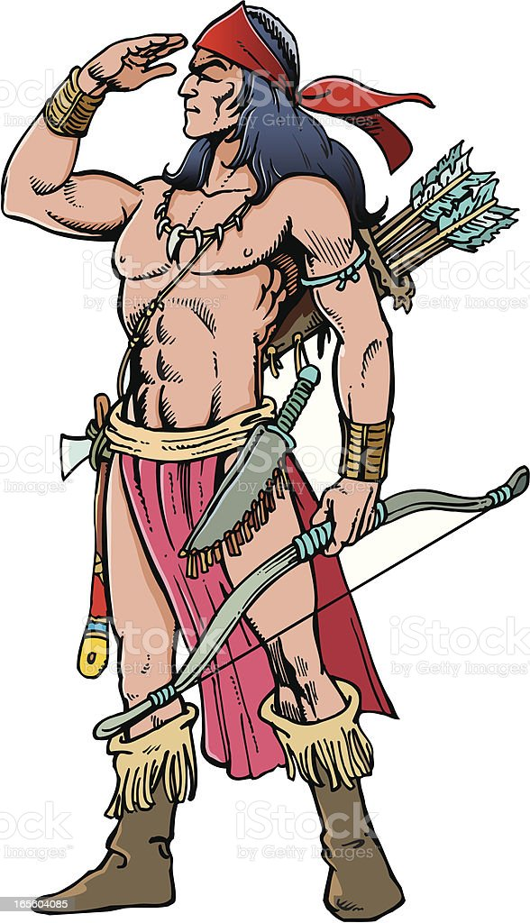 Indian warrior royalty-free stock vector art