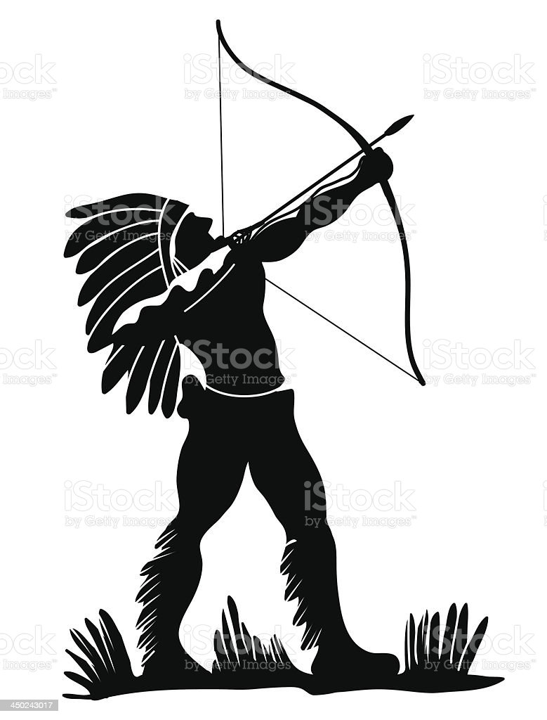 Indian warrior vector art illustration