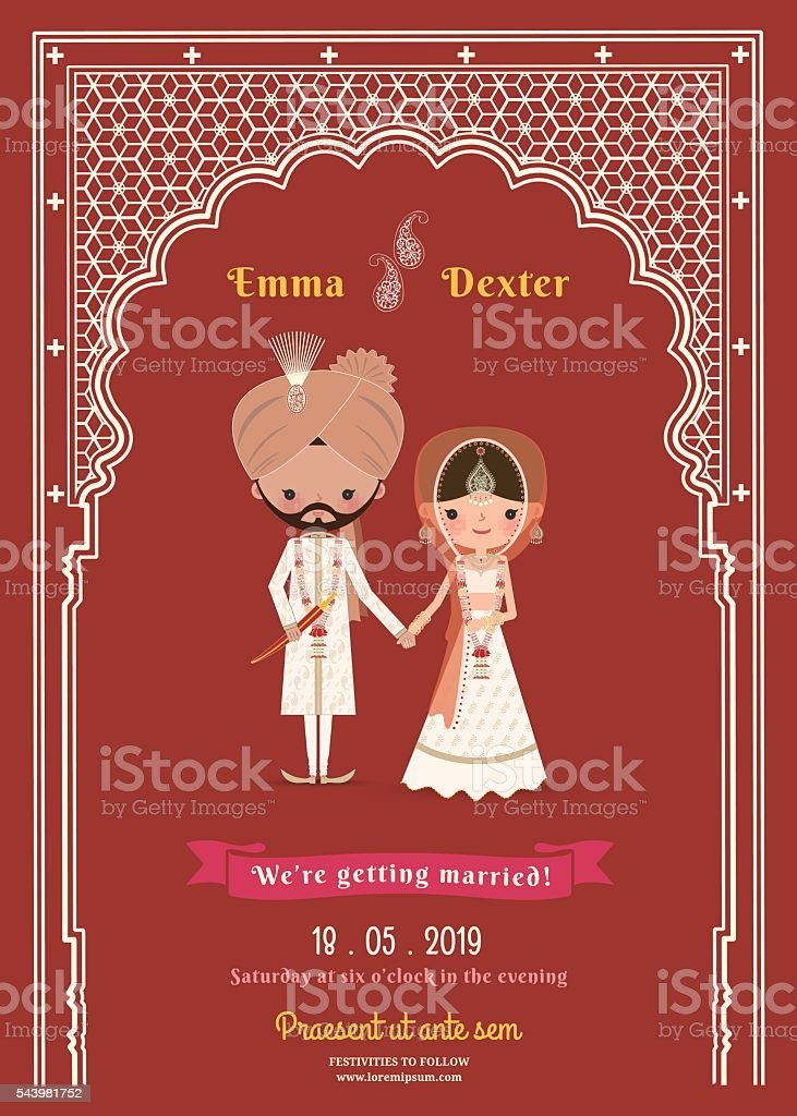 Indian Wedding Bride & Groom Cartoon Save The Date Card vector art illustration