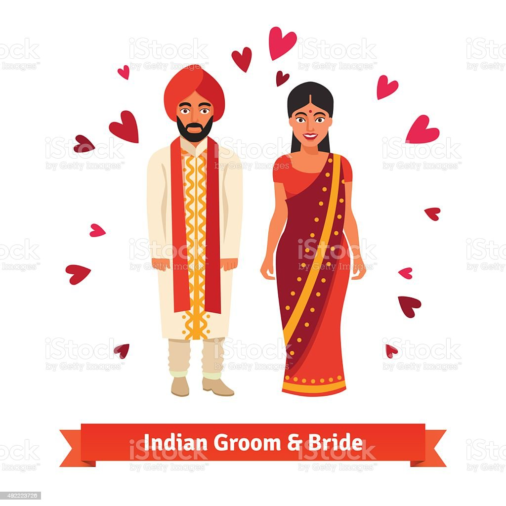 Indian wedding, bride, groom in national costumes vector art illustration