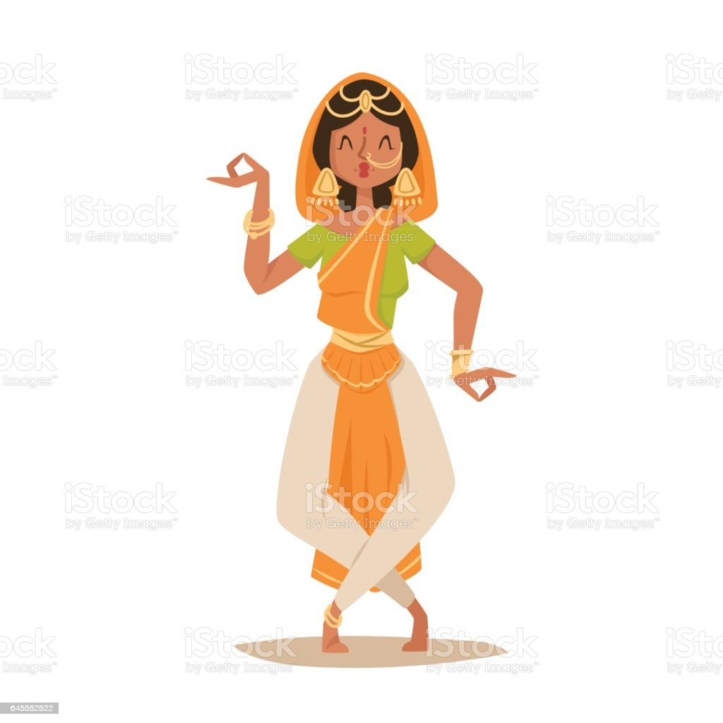 Indian woman dancing vector isolated dancers silhouette icons people India dance show party movie, cinema cartoon beauty girl sari illustration vector art illustration