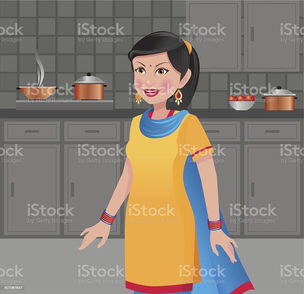 Indian woman in a Salwar kameez in kitchen vector art illustration
