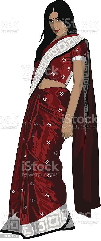 Indian Woman in Red Silk Sari royalty-free stock vector art