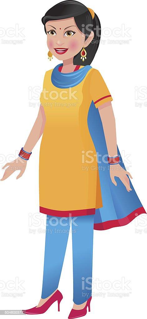 Indian woman in salwar kameez vector art illustration