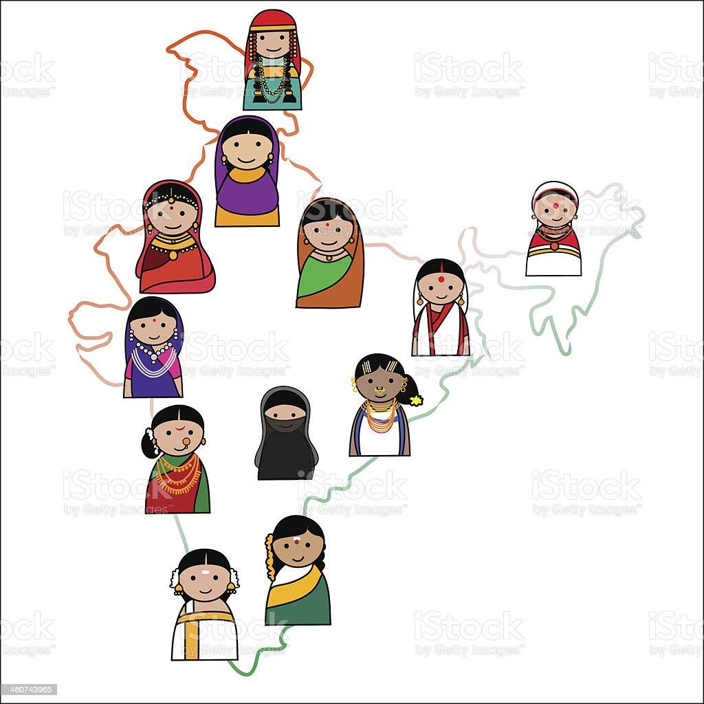 Indian woman vector avatar vector art illustration