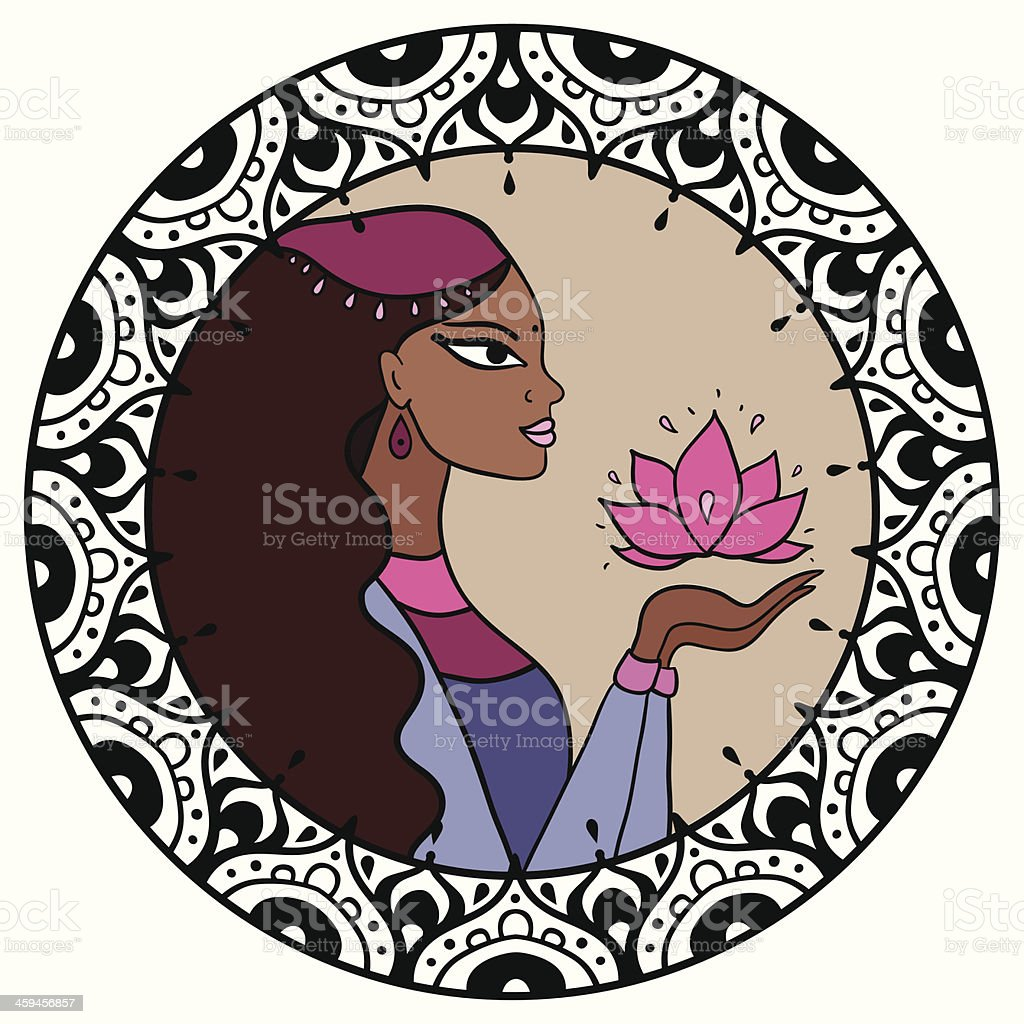 Indian woman with lotus. vector art illustration