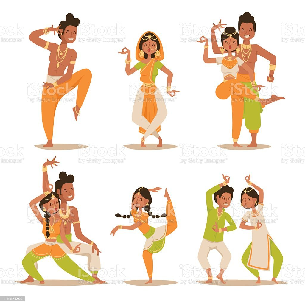 Indian women and man dancing vector isolated vector art illustration