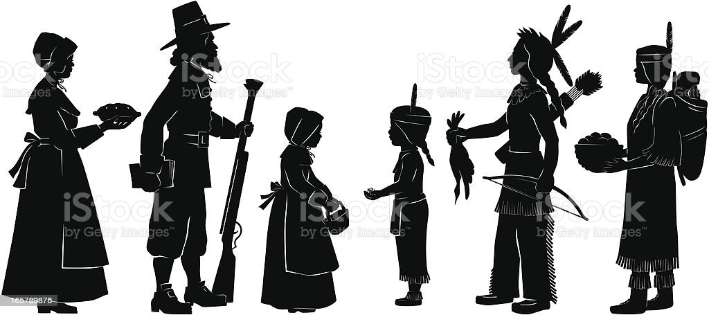 Indians and Pilgrims on Thanksgiving royalty-free stock vector art