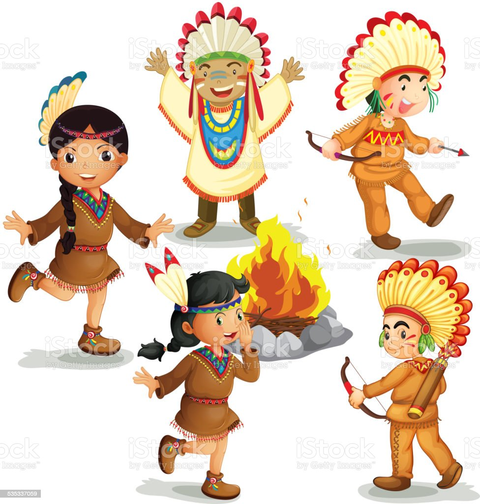 Indians vector art illustration