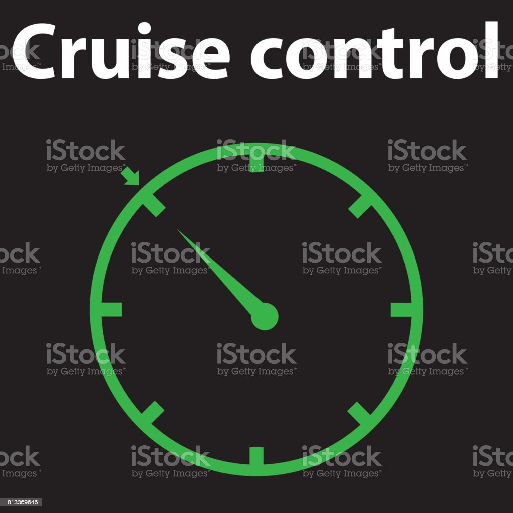 Indicator lights on the car dashboard, cruise control icon vector design EPS 10. DTC code error. Car pictograms. Single flat icon on black background. vector art illustration