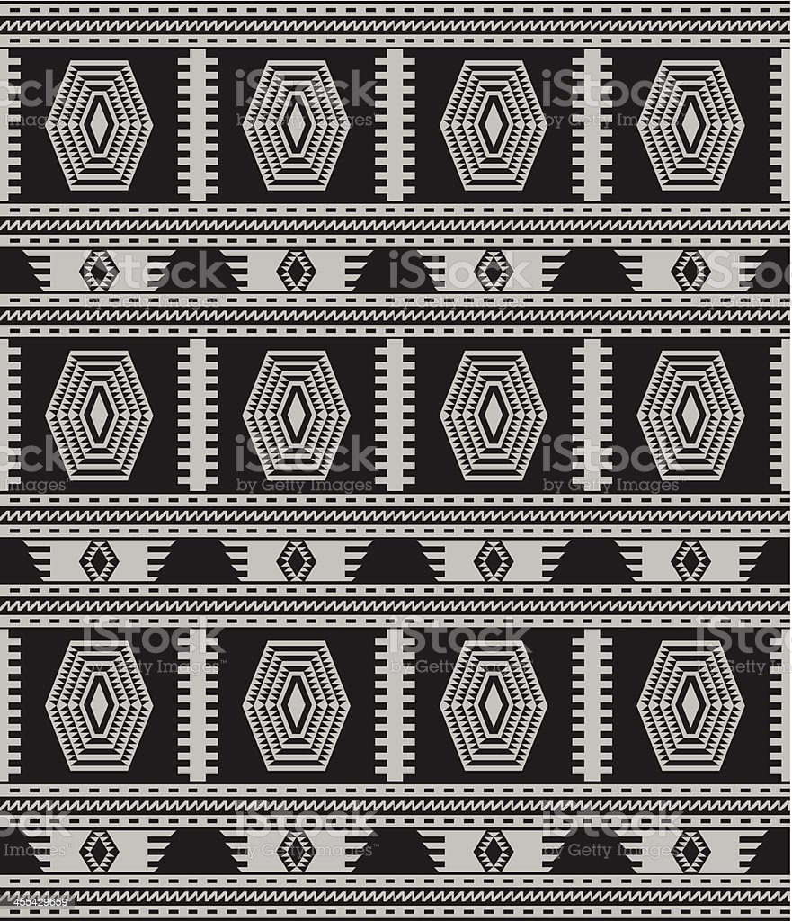Indigenous Rug (Black and White) vector art illustration