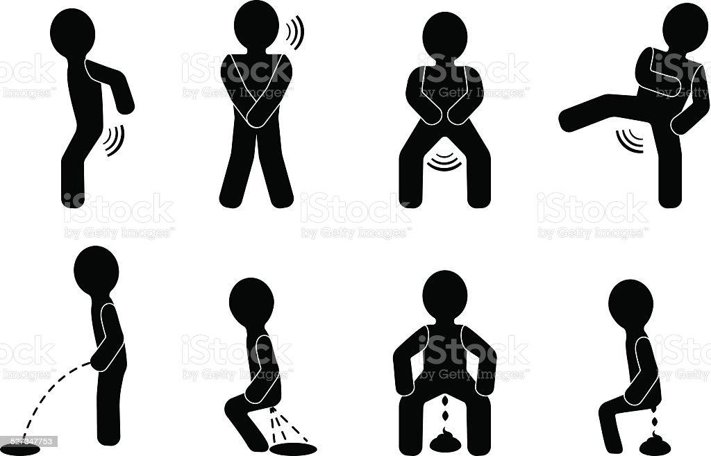 Indigestion and defecation vector art illustration