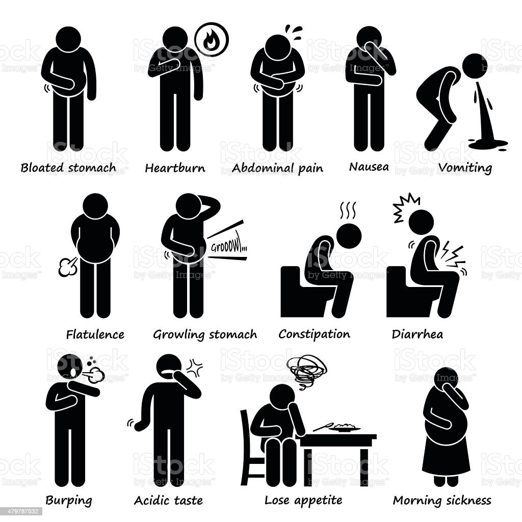 Indigestion Symptoms Problem Stick Figure Pictogram Icons vector art illustration