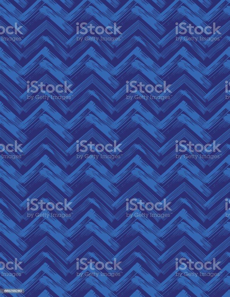 Indigo Linocut Block Print Seamless pattern vector art illustration